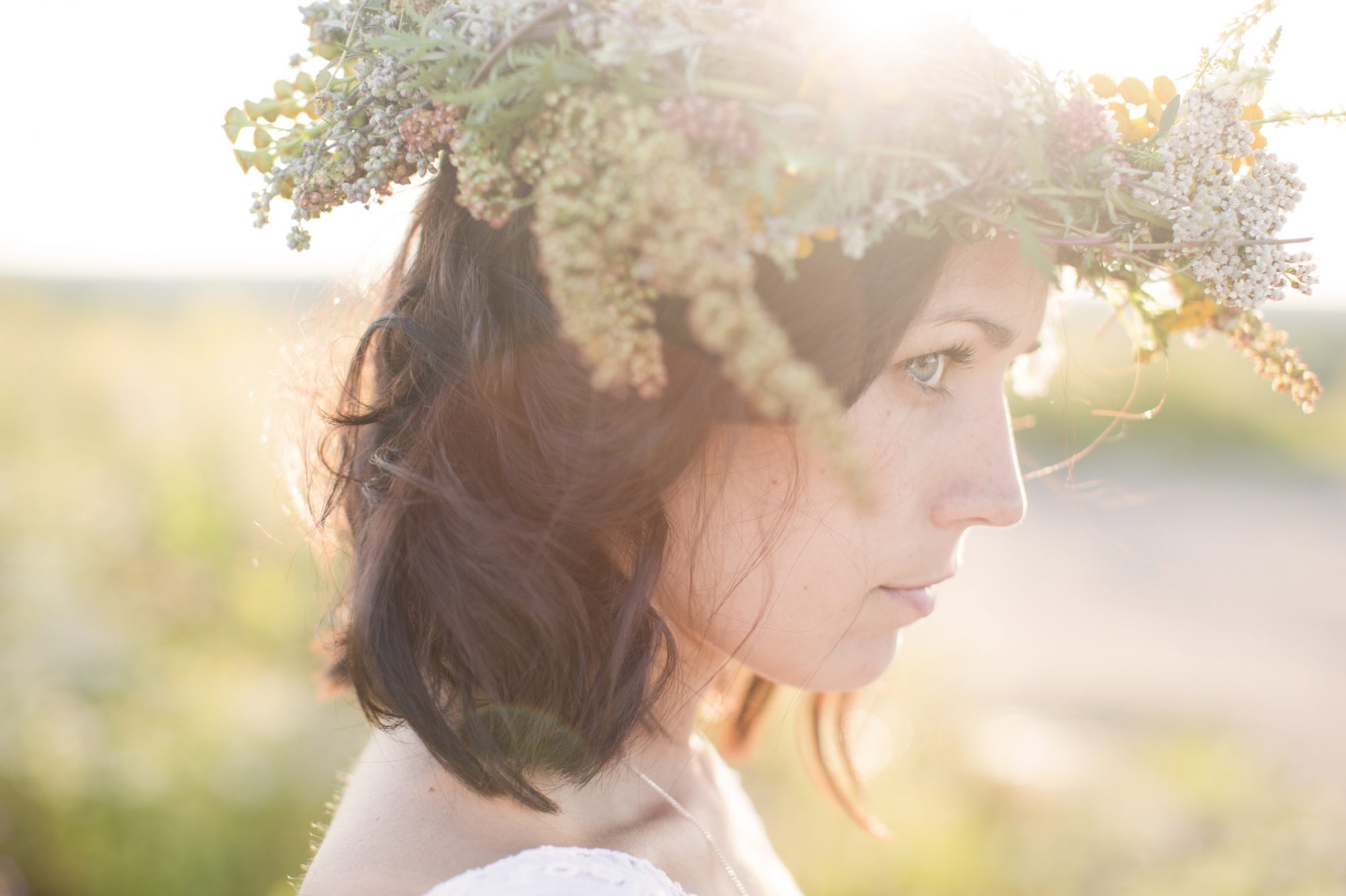 young woman with flower crown