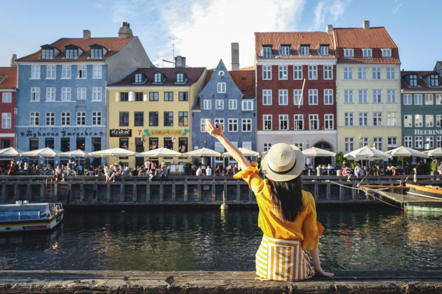 girl at Nyhavn in Copenhagen