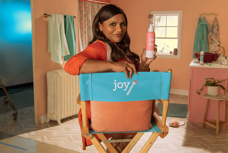 Mindy Kaling posing with joy shave gel