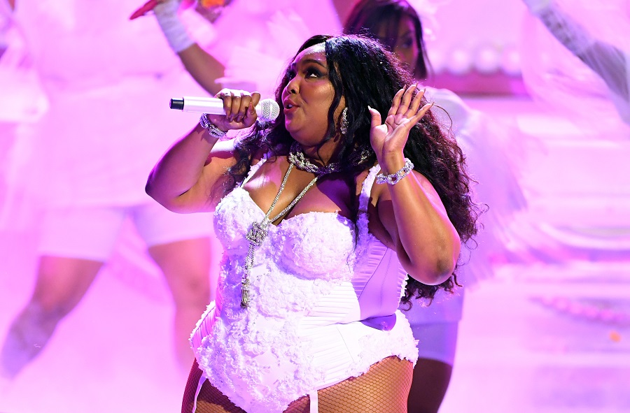 Lizzo performing at the BET Awards 2019