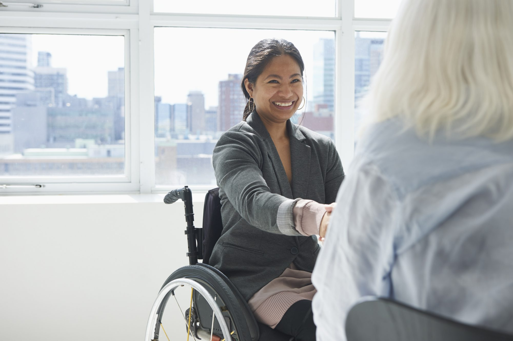 business woman negotiating benefits