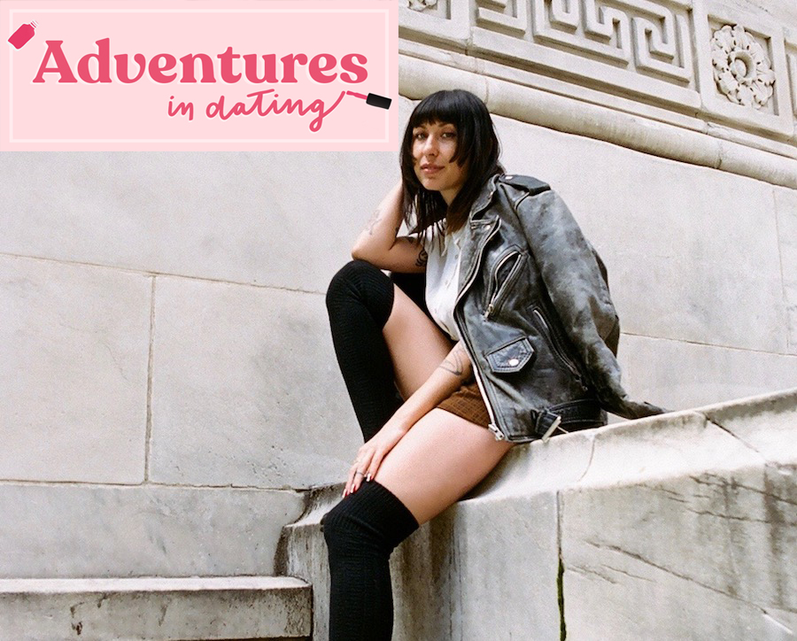 Shelby Sells posing in front of library with 'Adventures In Dating' logo by her face