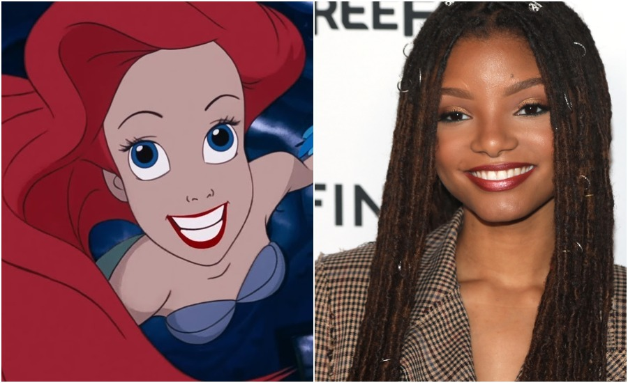 Halle Bailey in split screen with Ariel from The Little Mermaid