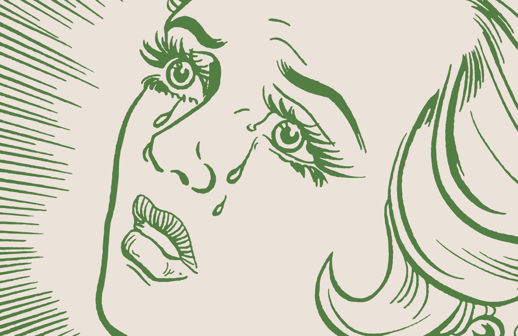 crying woman illustration