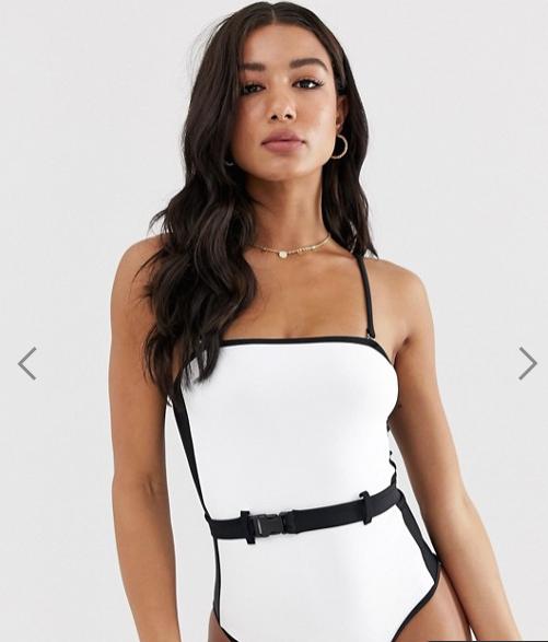 ASOS white swimsuit black belt