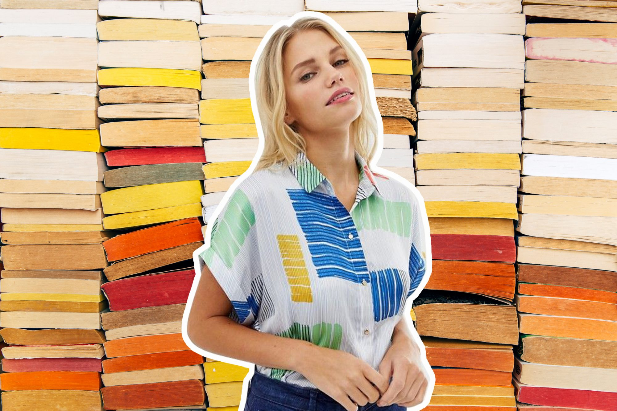 woman dressed like literary character in front of stacks of books