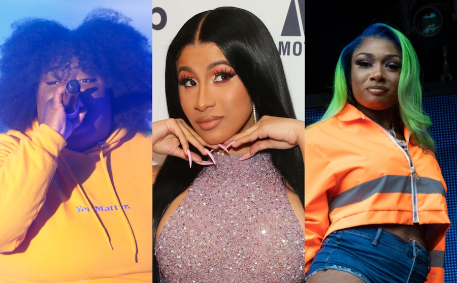 collage of Chika, Cardi B, and Megan Thee Stallion