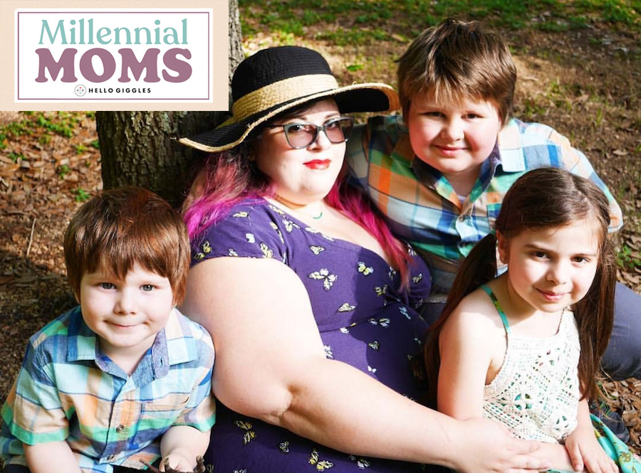 Author and her kids next to Millennial Moms logo