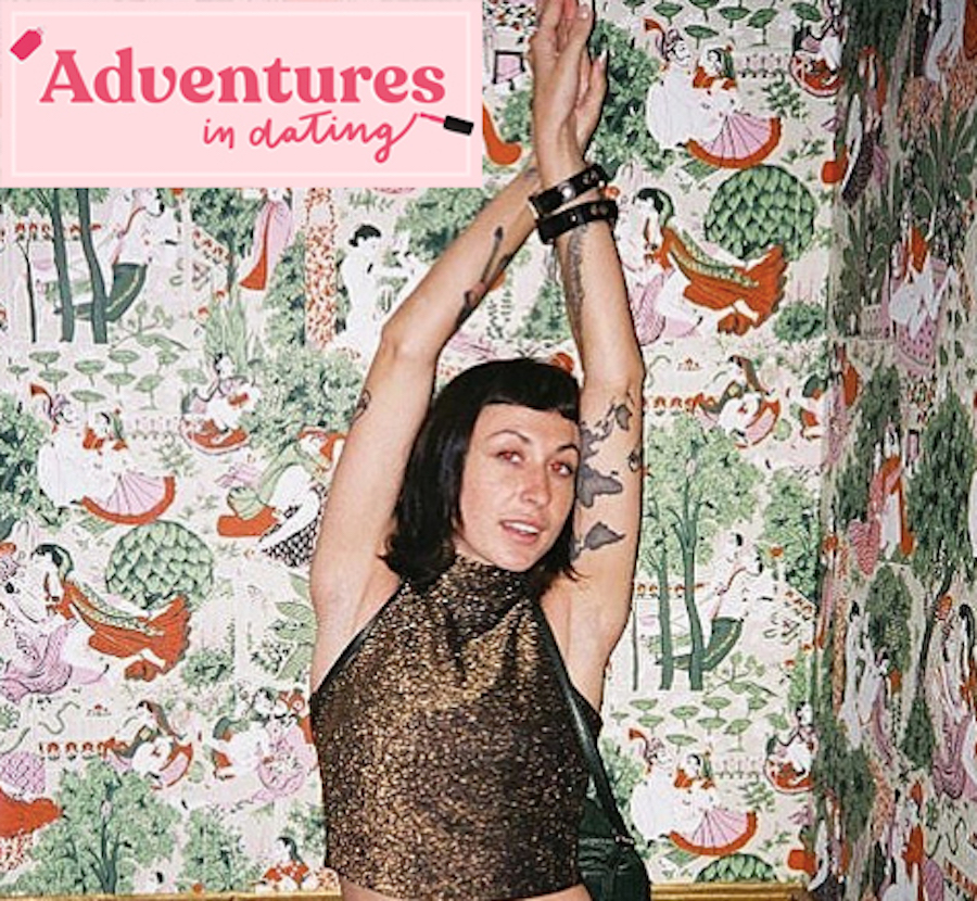 Author Shelby Sells posing near Adventures in Dating logo