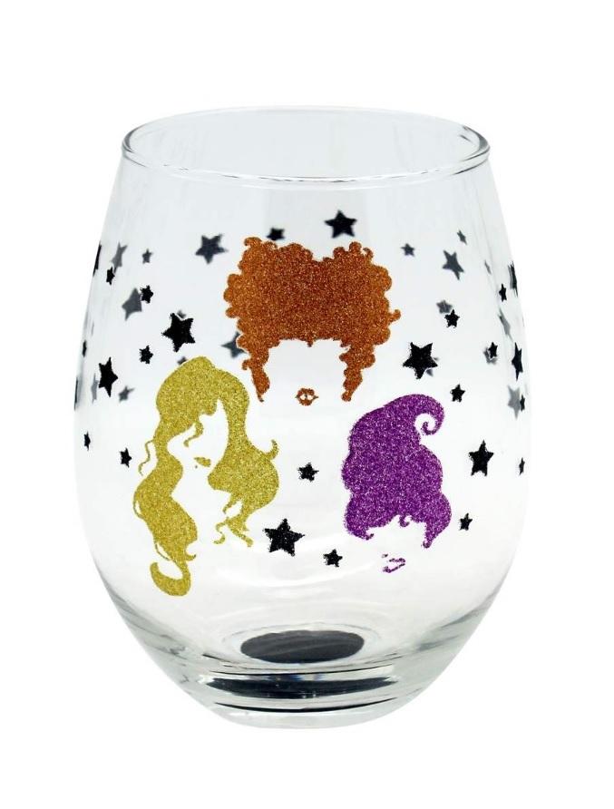 hocus pocus stemless wine glass