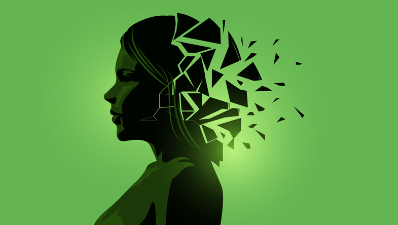 Illustration of a woman with a chaotic mind to signify mental health issues