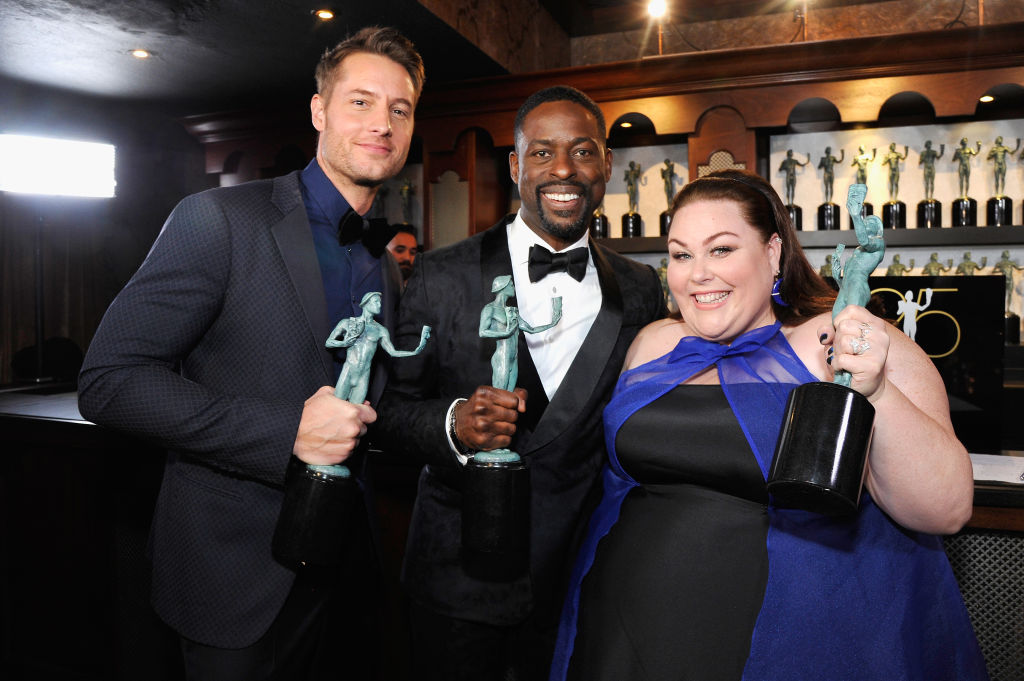 Justin Hartley, Sterling K. Brown, and Chrissy Metz attend the 25th Annual Screen Actors Guild Awards