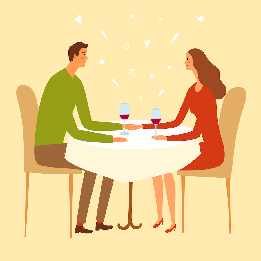 Illustration of a couple seated at a dinner table