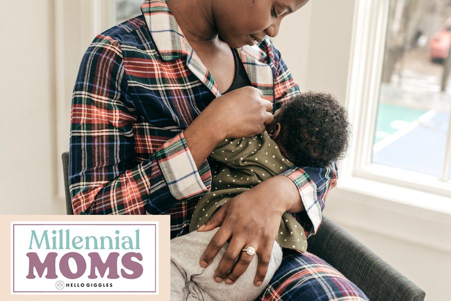 Mom breastfeeding her son