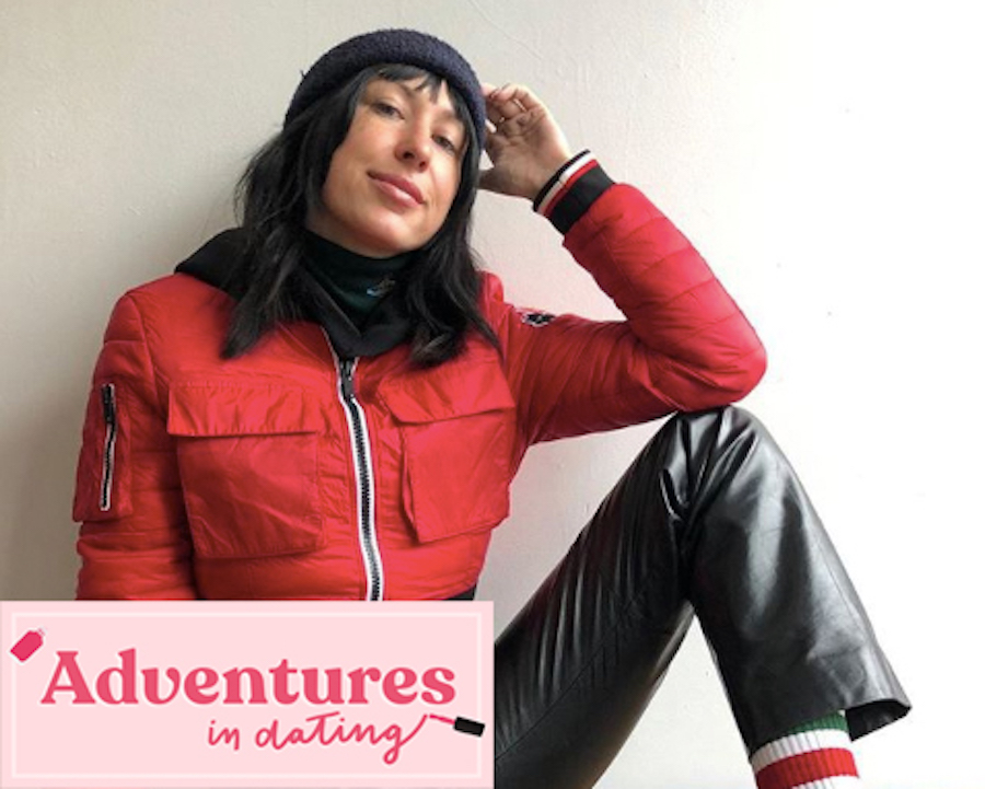 Author Shelby Sells posed next to Adventures in Dating logo