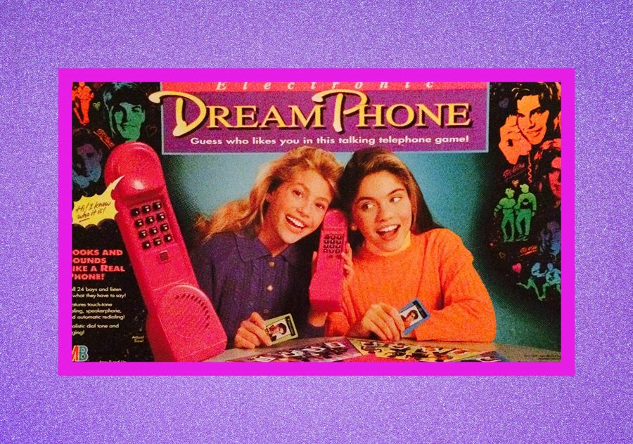 Photograph of Dream Phone board game on purple background