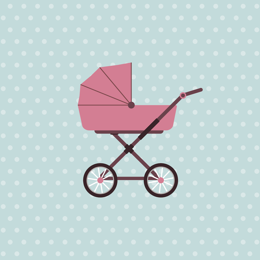 Stroller illustration on polka dot background