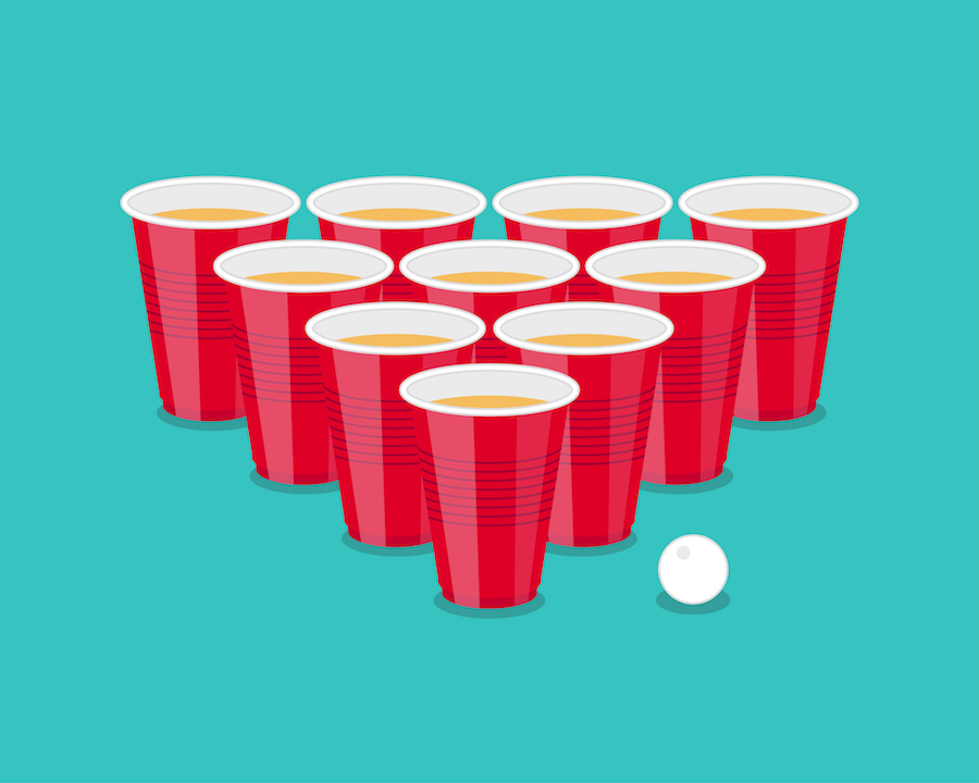 Illustration of red plastic cups in beer pong tournament