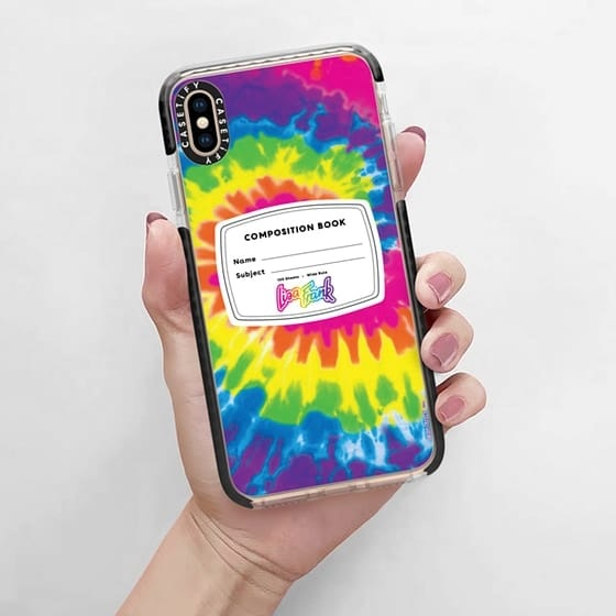lisa frank composition book in tie-dye phone case