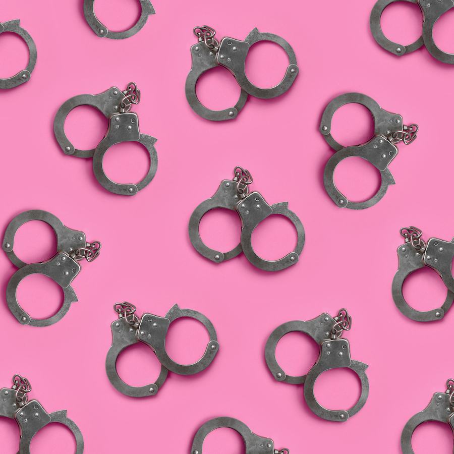 Collage of handcuffs on pink background