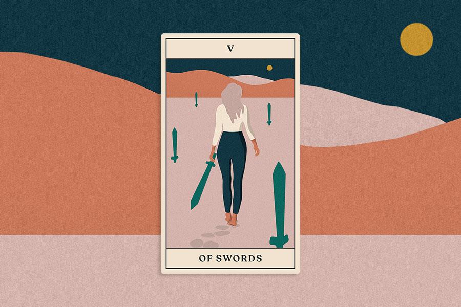 tarotscope 5 of wands tarot card
