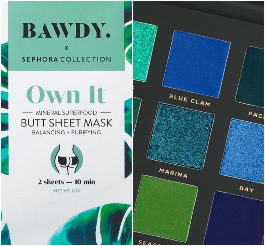 Collage of Bawdy butt sheet masks and Ace Beaute eyeshadow
