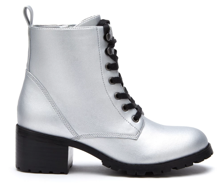 silver combat boot