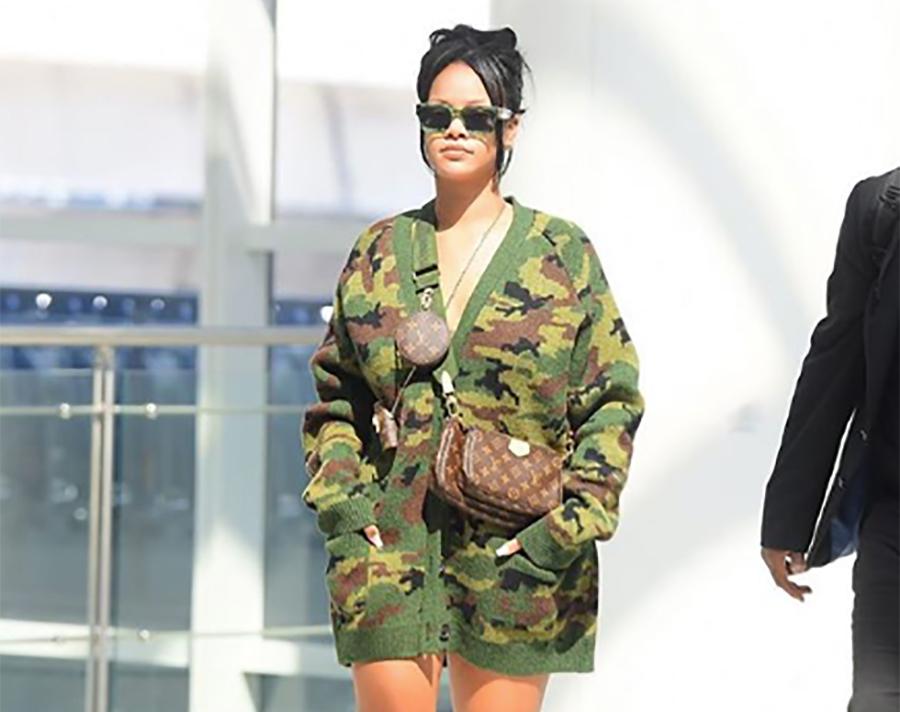 Rihanna camo cardigan