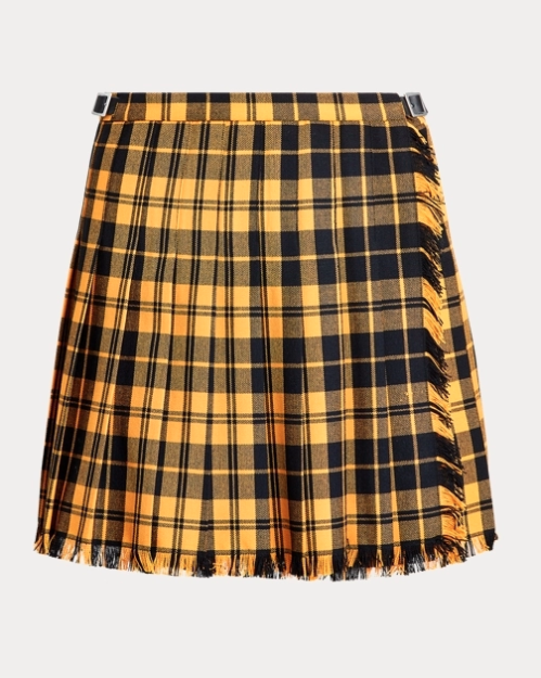 ralph laurne friends collection plaid yellow pleated mini skirt