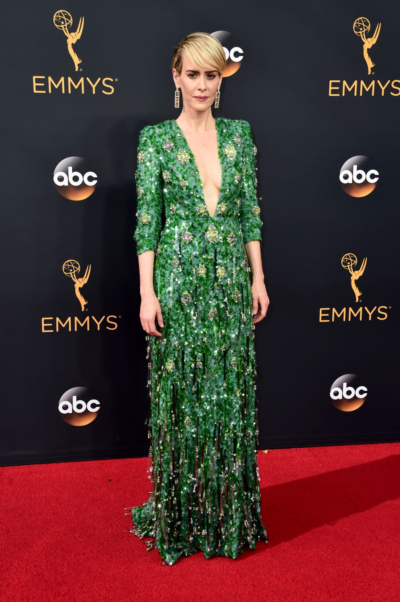 sarah paulson emmy awards prada gown, best emmy awards red carpet looks