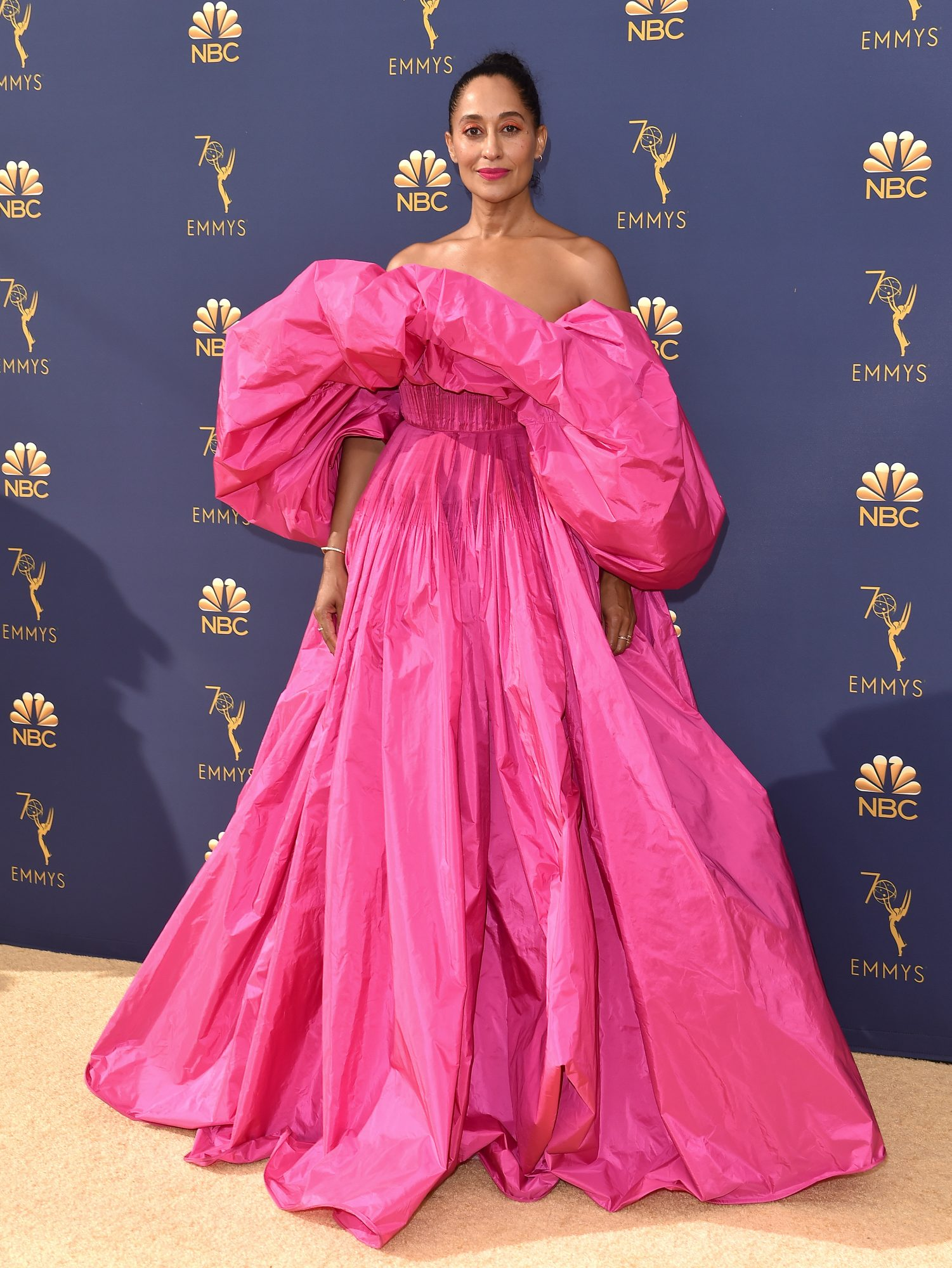 tracee ellis ross 2018 emmy awards red carpet dress pink