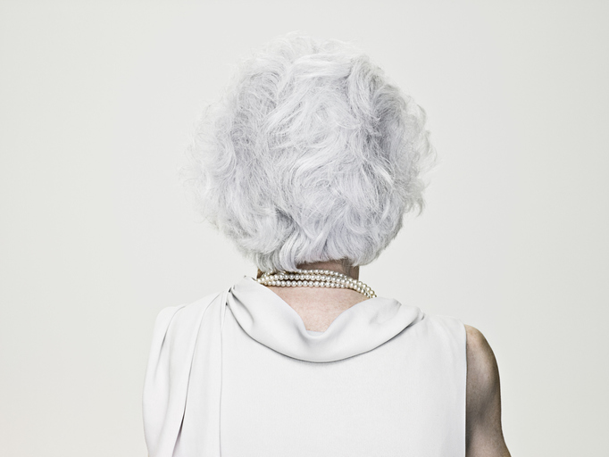 Back of elderly woman's head