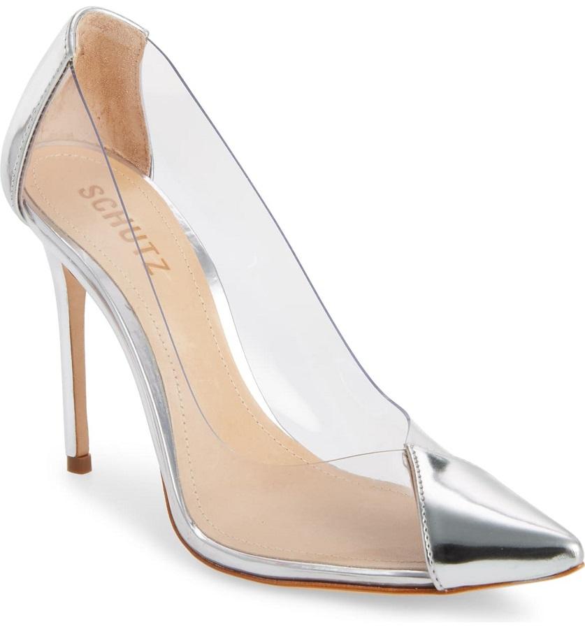 transparent schutz shoes that hailey bieber wore