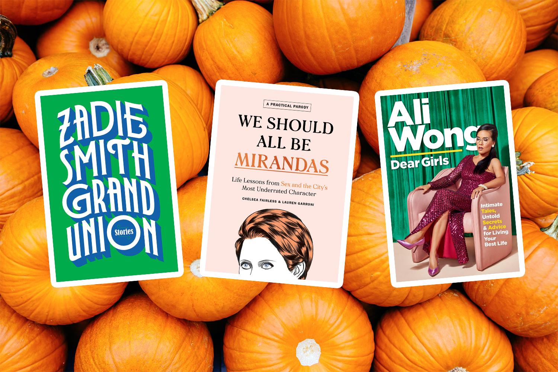 Three book covers against pumpkins