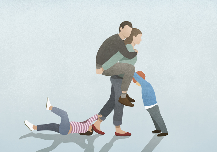 Illustration of mother carrying her husband on her back while caring for son and daughter