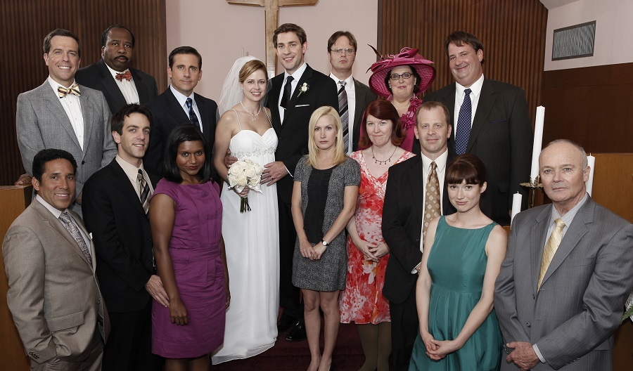 the cast of the office at jim and pam's wedding