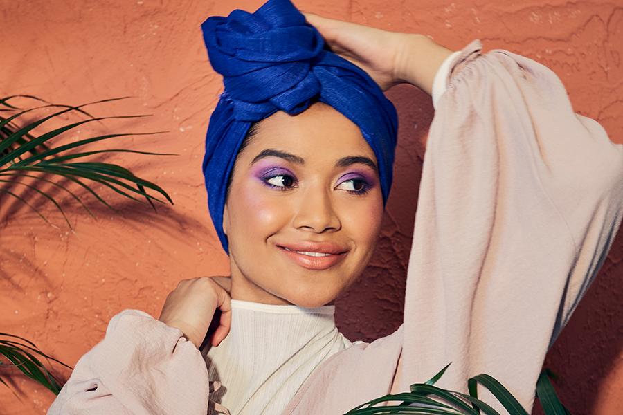 Woman with purple eyeshadow
