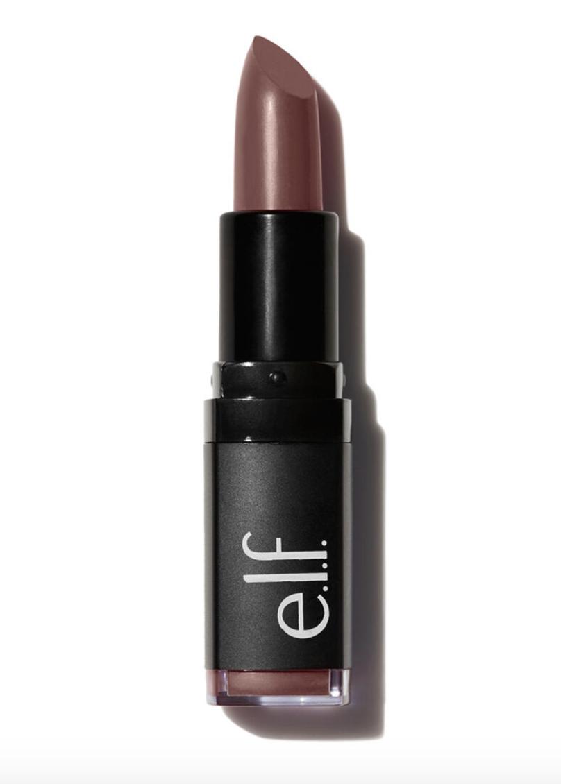 elf velvet matte lipstick in bushing brown, best drugstore matte lipstick