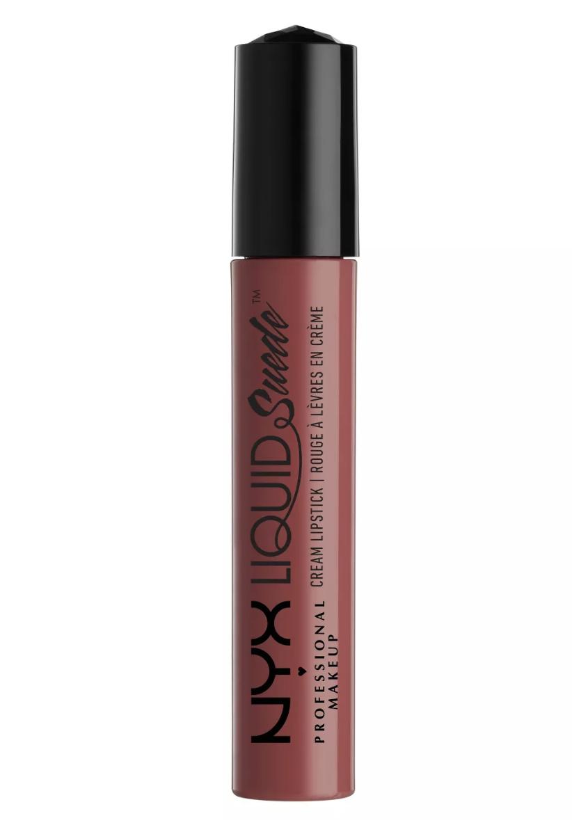 NYX liquid suede matte lipstick in soft spoken, best drugstore mate lipsticks