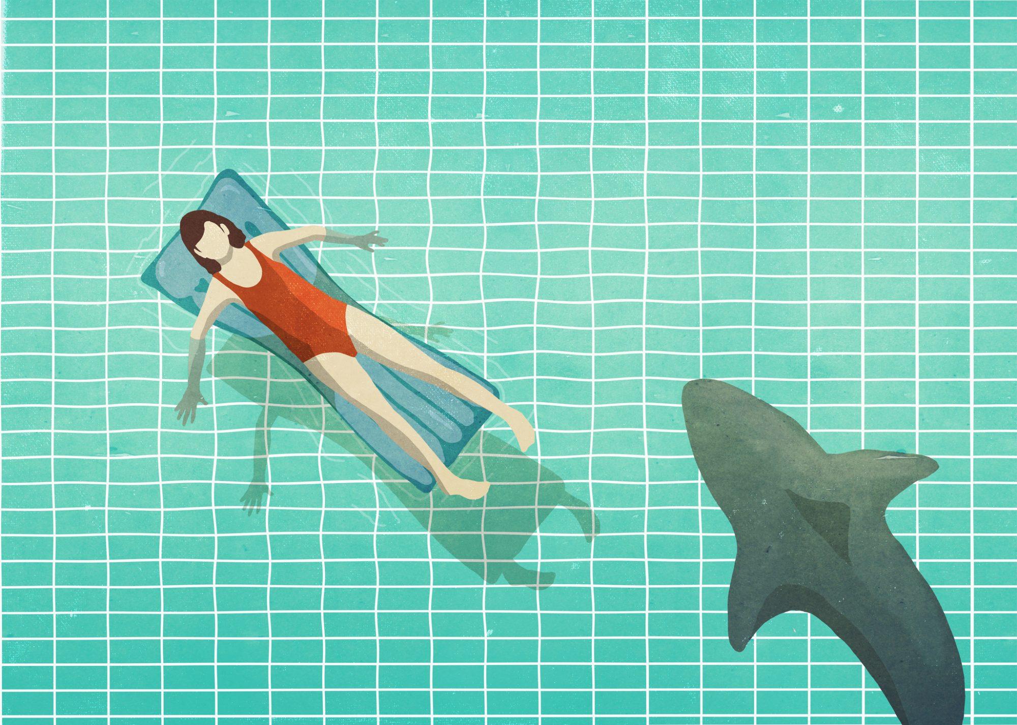 illustration of shark swimming near woman