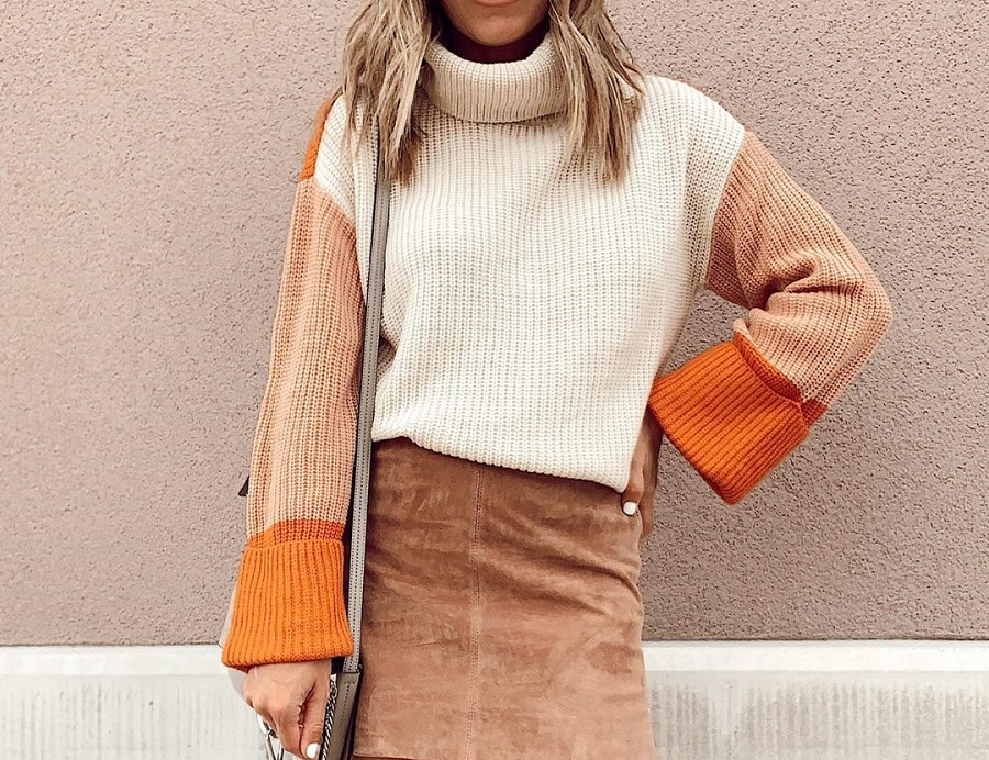 amazon affordable colorblock pumpkin spice sweater