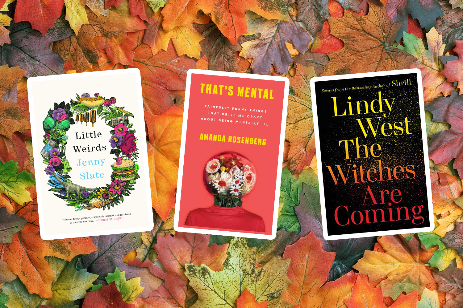 3 book covers against a pile of leaves