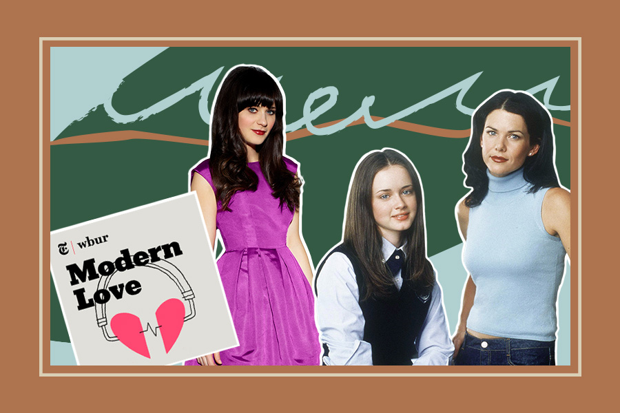 collage with gilmore girls and modern love podcast