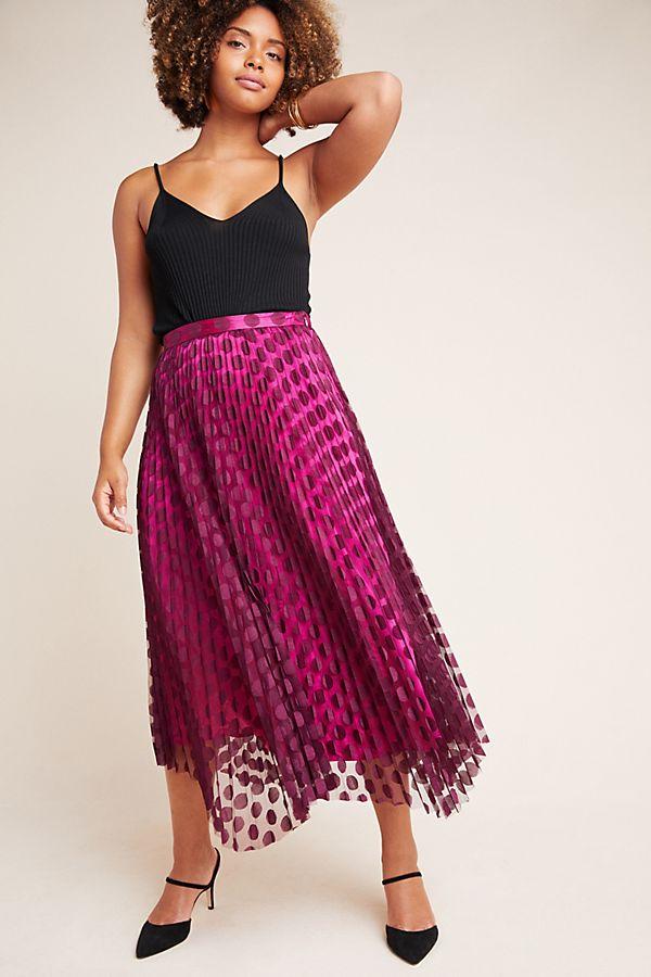 anthropolgie pink midi party skirt