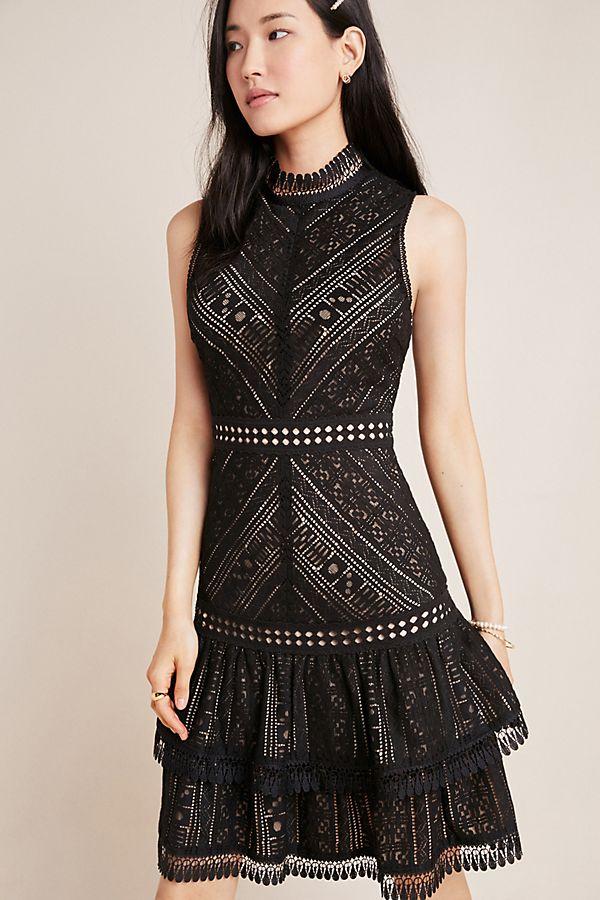 anthropologie black lace mini dress