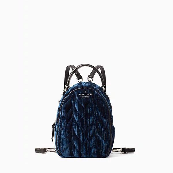 kate spade backpack in blue crushed velvet