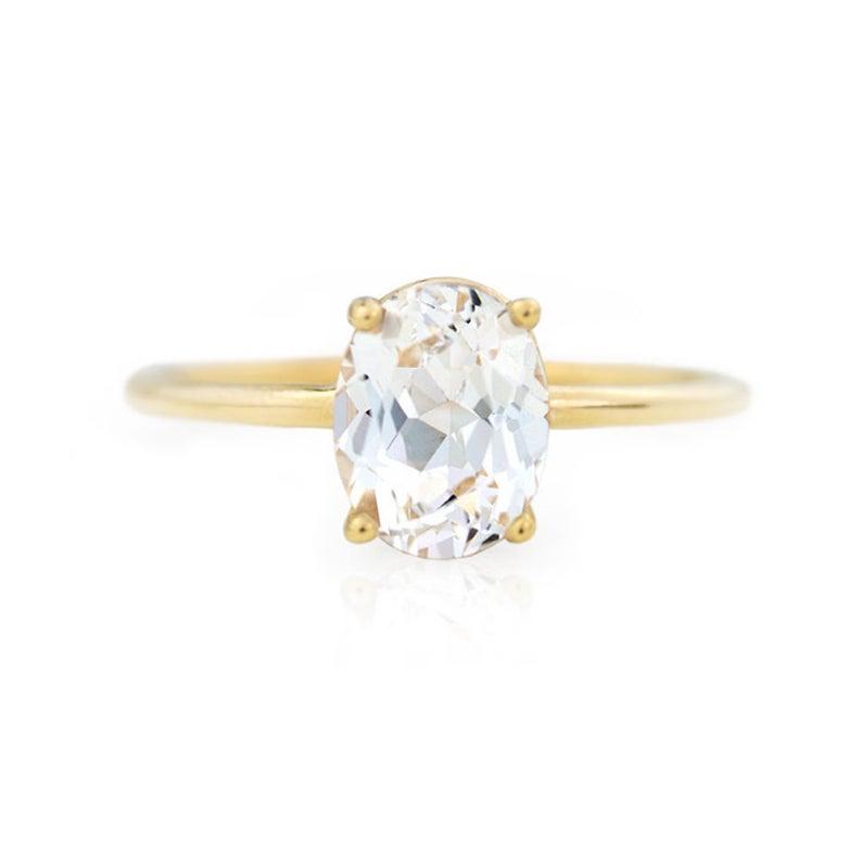 etsy white sapphire engagement ring