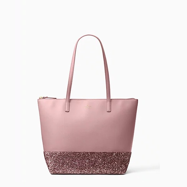 kate spade tote in blush with glitter