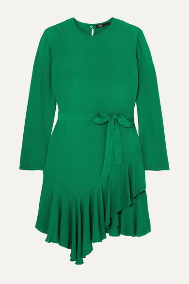 maje belted ruffled green mini dress