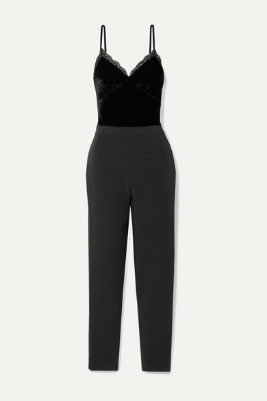 micheal kors black velvet jumpsuit from new a porter